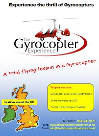 A 30 minute flight and flying lesson in an open cockpit Gyrocopter.  This will be either the Magni M16 or the Rotorsport MT03/MT0 Sport depending upon your personal choice and availability of aircraft at the chosen location.  The flight can be taken at any Gyrocopter Experience location.  Included in the pack is a short DVD, an information leaflet and the voucher that confirms the flight has been prepaid.  